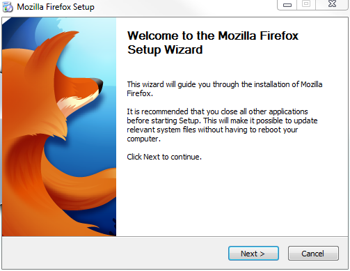 Firefox installer screen