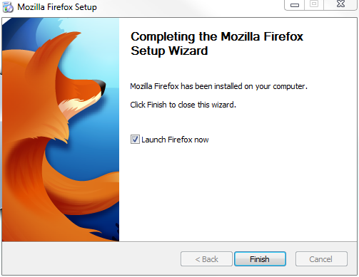 Firefox install completed, launch Firefox screen