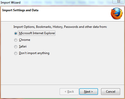 Firefox import settings from other browsers screen