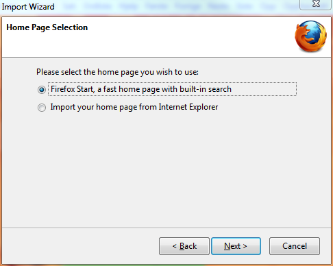 Firefox default start page screen