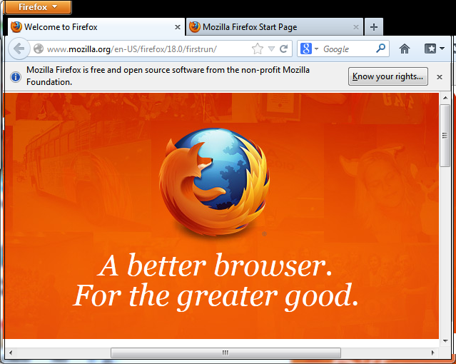 First Firefox startup screen with tabs