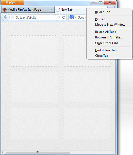Firefox with tab options open