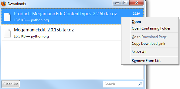Right-clicking in download manager