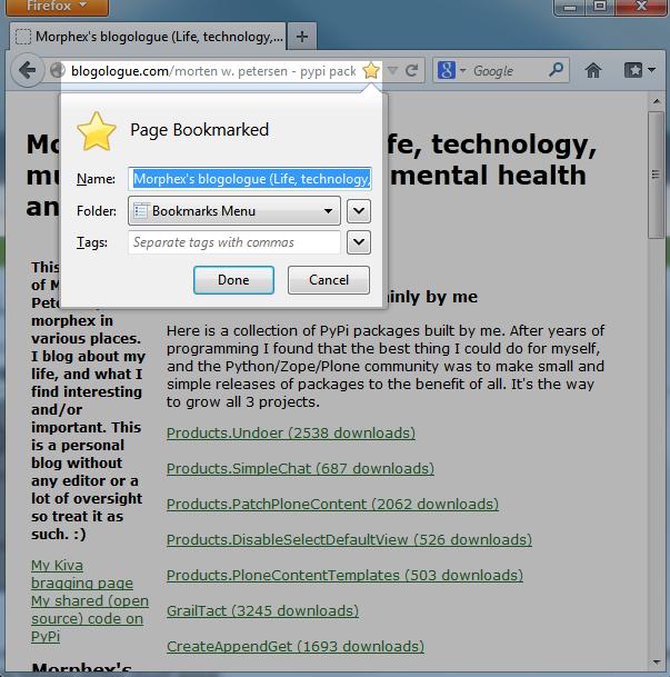 Firefox add bookmark screen