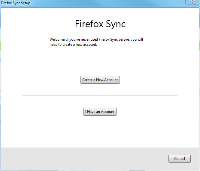 Firefox setup Firefox sync first screen