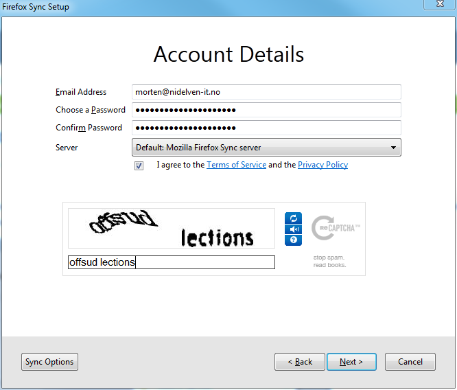 Firefox sync account details view
