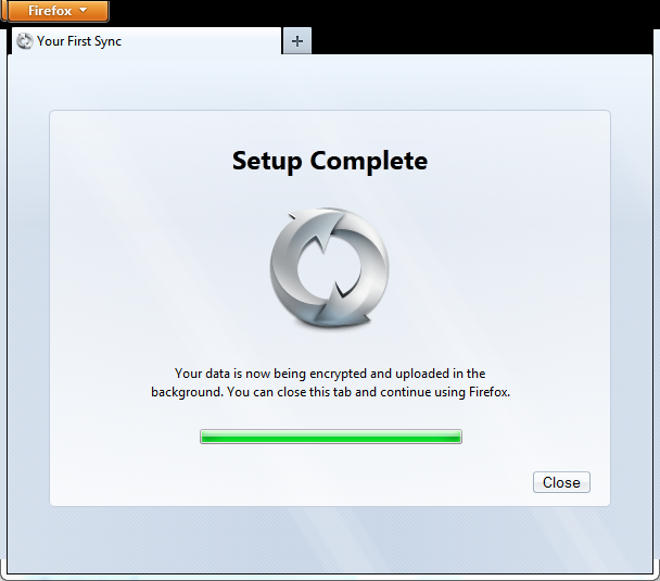Firefox sync setup complete, encrypting and uploading