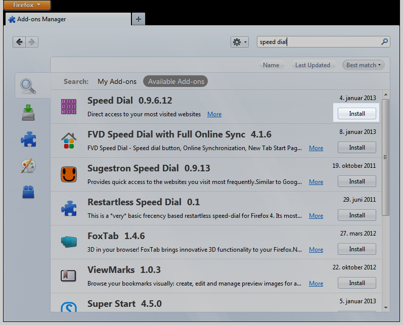 Firefox add-ons screen, 'speed dial' search results, install button highlight