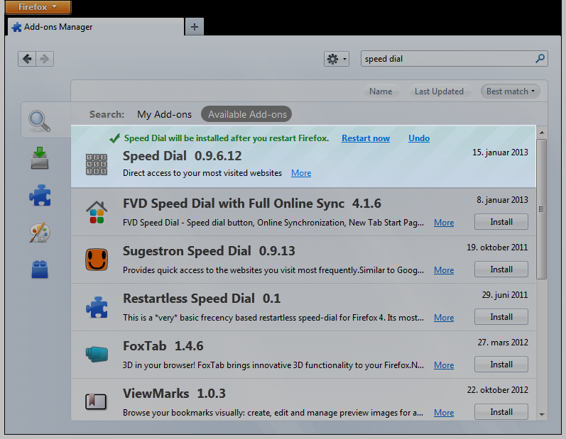 Firefox add-on screen, add-on installed, restart or undo options