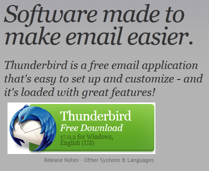 Thunderbird download screen