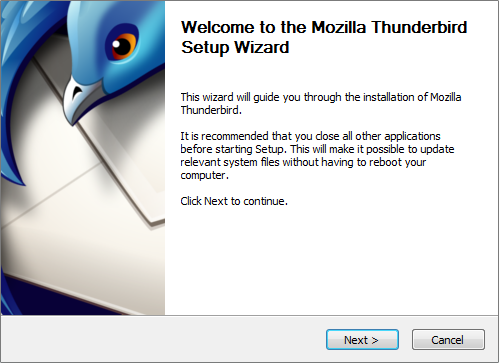 Thunderbird start install screen