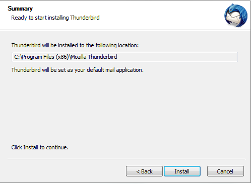 Thunderbird, OK install view