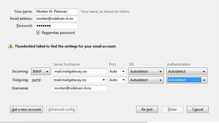 Thunderbird mail setup screen, tweaking settings