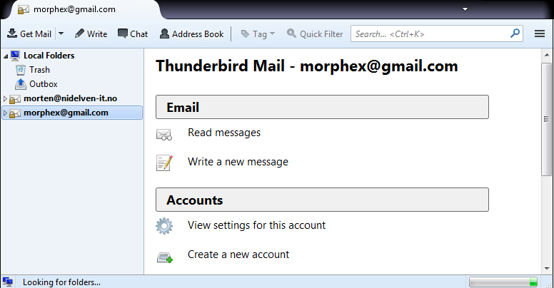 Thunderbird start screen