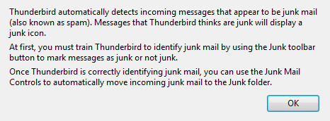 Thunderbird Junk mail information screen
