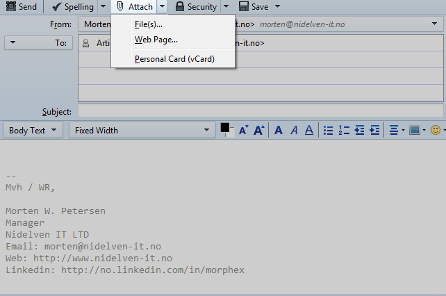 Thunderbird compose message window, add attachment
