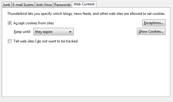 Thunderbird options screen, security tab, web content subtab