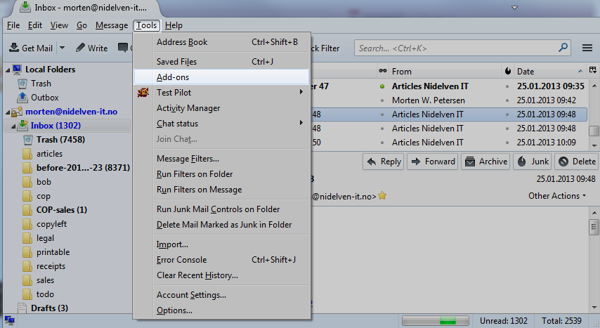Thunderbird, tools menu, selecting add-ons