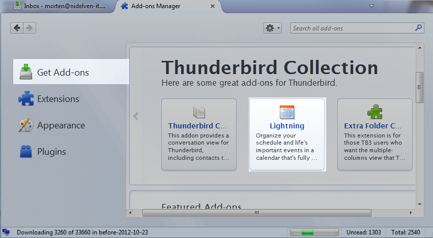 Thunderbird, add-ons screen, Lightning highlight