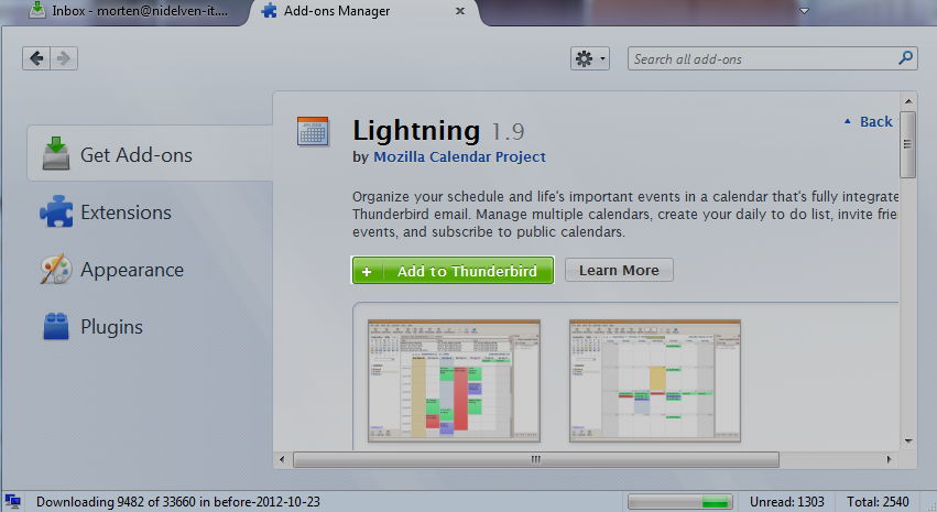 Thunderbird, add-ons screen, about to install Lightning