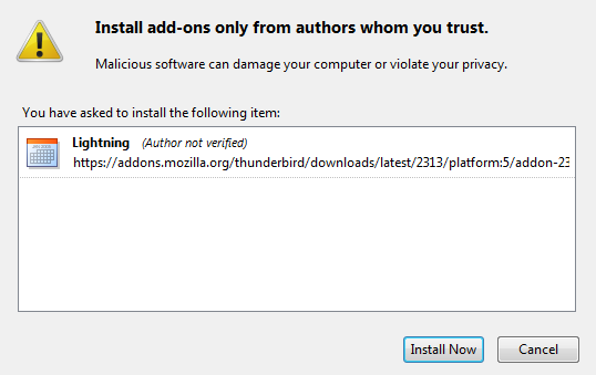 Thunderbird, confirm installation of add-on