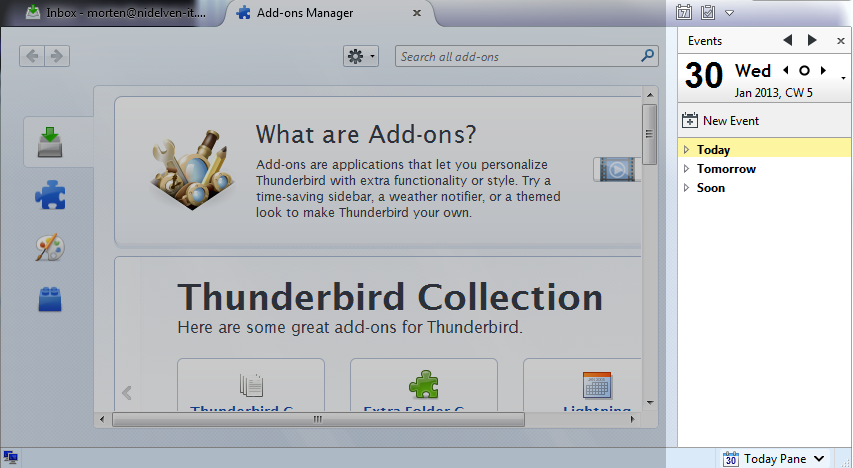 Thunderbird, initial view with Lightning calendar installed and enabled