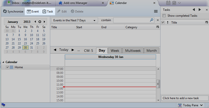 Thunderbird full calendar view, add event and add task highlighted