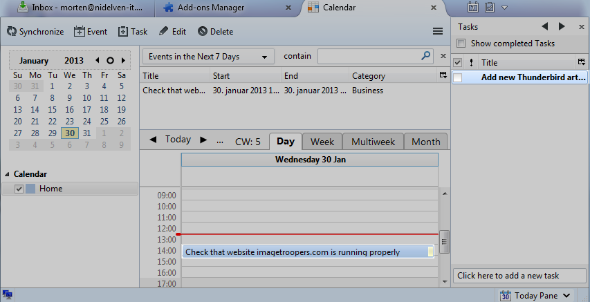 Thunderbird, calendar full view with task and event