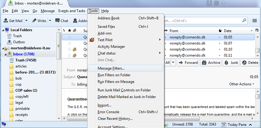Thunderbird, Tools - Message filter menu option