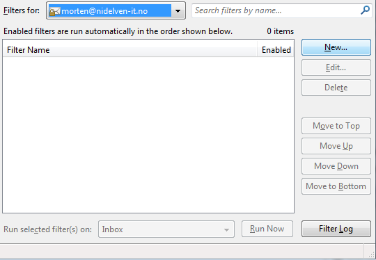 Thunderbird, message filters main window