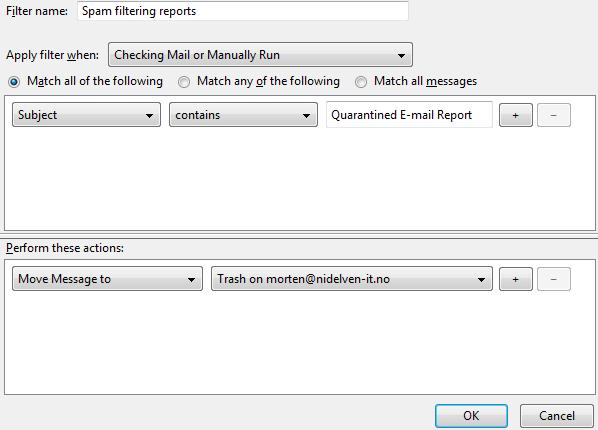 Thunderbird, configuring mail filter window
